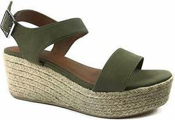 City Classified Womens Wedge Espadrilles Trim Ankle Strap Op