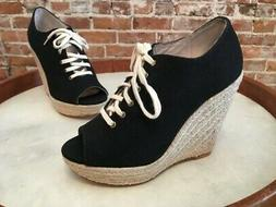 Steve Madden Wyllow Black Canvas Lace-up Espadrille Wedge Sh